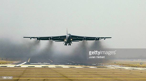 Air Force B-52 bomber takes off March 21, 2003 from RAF Fairford, England. Eight of the aircraft took off but there was no indication given as to...