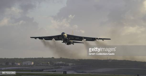 Air Force B-52H Stratofortress bomber takes off from Andersen Air Force Base, Guam, May 4, 2018. Image courtesy Tech. Sgt. Richard Ebensberger /...