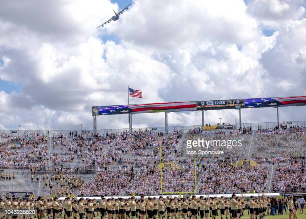 Air Force C130 fly by before the football game between the UCF Knights and Pitt on September 29 2018 at CFE Arena in Orlando FL