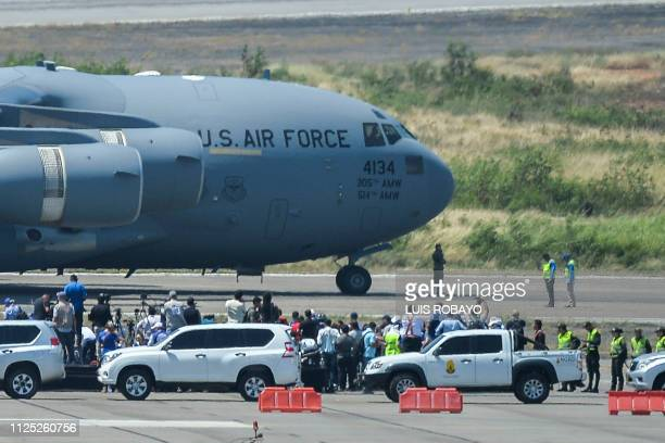 Air Force C17 aircraft carrying food and medicines aid for Venezuela is pictured shortly after landing at the Camilo Daza International Airport in...