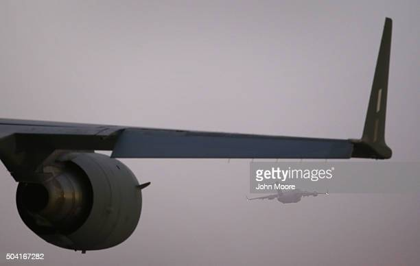 S Air Force C17 Globemaster cargo jet takes off as another awaits a mission on January 9 2016 from a base in an undisclosed location in the Persian...