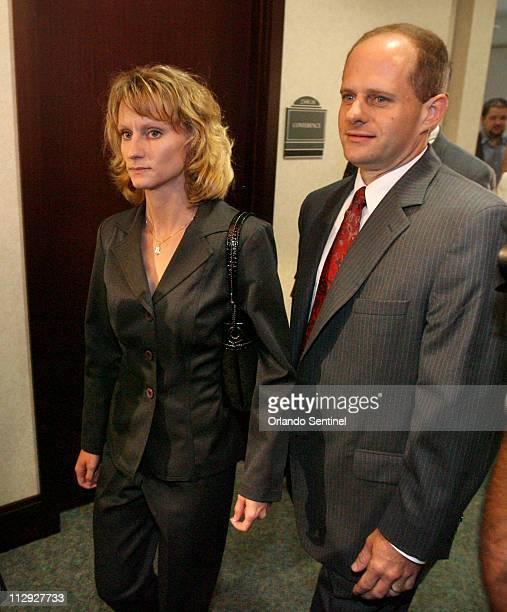 Air Force Capt Colleen Shipman left arrives with her attorney at the hearing for former NASA astronaut Lisa Nowak Friday August 24 at the Orange...