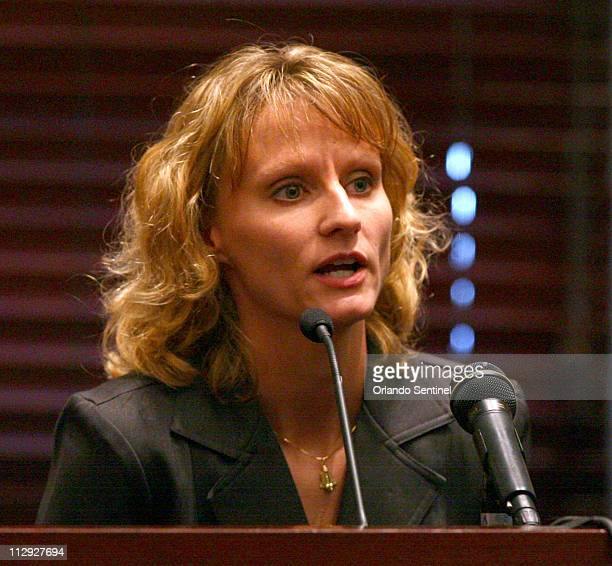 Air Force Capt Colleen Shipman testifies at the hearing for former NASA astronaut Lisa Nowak Friday August 24 at the Orange County courthouse in...
