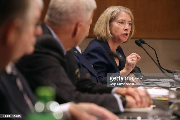 S Air Force Col Pamela Melroy testifies before the Senate Aviation and Space Subcommittee in the Dirksen Senate Office Building on Capitol Hill on...
