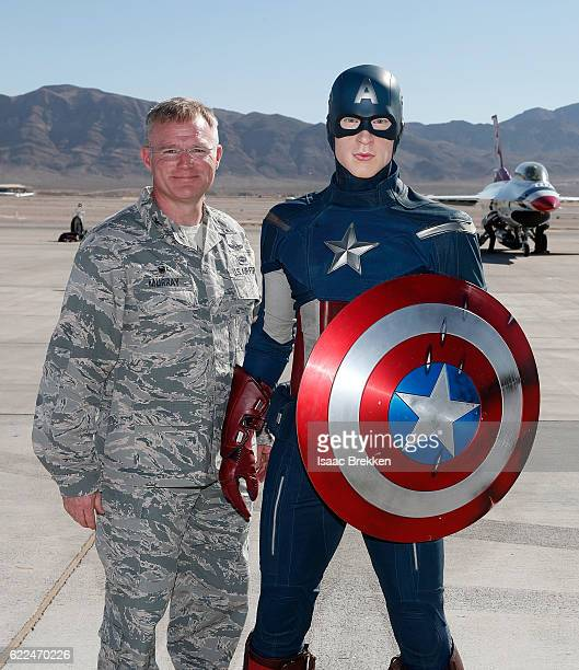 Air Force Col Paul Murray joins Madame Tussauds to unveil the allAmerican hero Captain America in honor of Veterans Day at Nellis Air Force Base on...