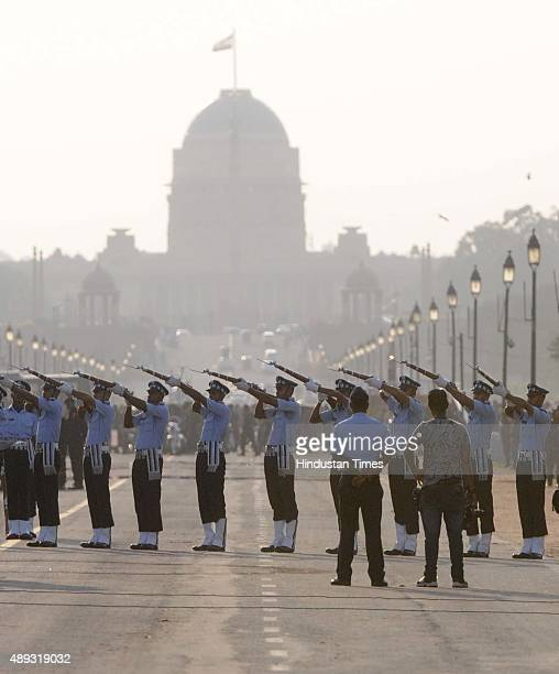 Air Force Contingent performs to mark the 50th anniversary celebrations of the 1965 IndoPakistani War on September 20 2015 in New Delhi India The...