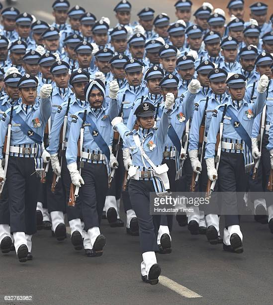 Air Force contingents marching past during the celebration of the 68th Republic Day at Rajpath on January 26 2017 in New Delhi India India celebrates...