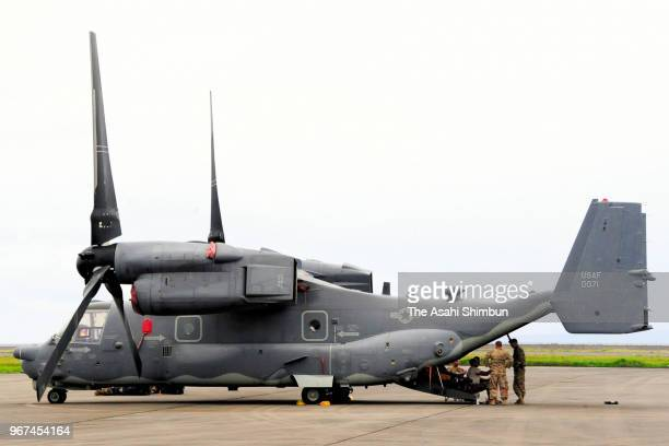 US Air Force CV22 Osprey aircraft is seen at Amami Airport after an emergency landing on June 4 2018 in Amami Kagoshima Japan