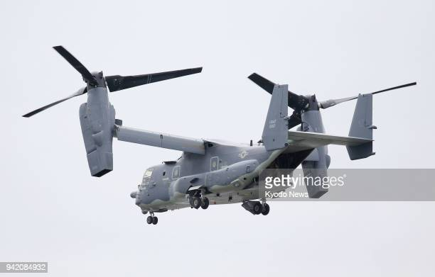 A US Air Force CV22 Osprey flies after taking off from a US military facility in Yokohama on April 5 for Yokota Air Base in Tokyo ==Kyodo