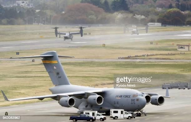 US Air Force CV22 Ospreys land at Yokota Air Base in Tokyo on April 5 2018 ==Kyodo