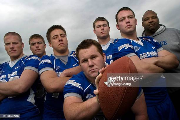 Air Force dline Air Force defensive lines and coach From left Jake Paulson Ben Garland Rick Ricketts Jared Marvin Ryan Kemp Stephen Larson and...