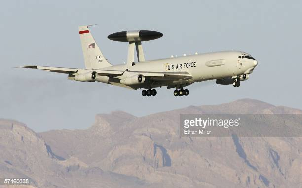 Air Force E3 AWACS lands at Nellis Air Force Base while participating in the Joint Expeditionary Force Experiment 2006 April 25 2006 in Las Vegas...