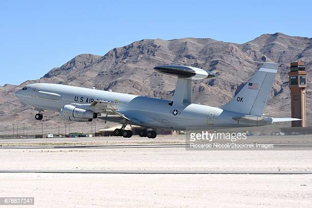 A U.S. Air Force E-3A Sentry taking off from Nellis Air Force Base, Nevada.