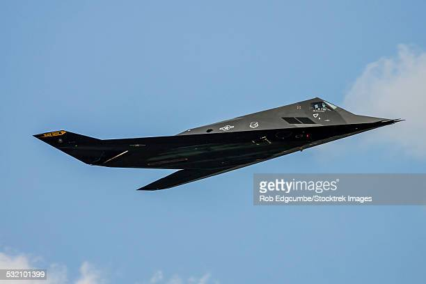A U.S. Air Force F-117 Nighthawk performs a flyby at Andrews Air Force Base, Maryland.