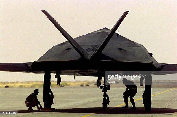 A US Air Force F117 Nighthawk Receives One Last Check Before Departing Ahmed Al Jaber Air Base Kuwait On June 6 For Redeployment From Operation...