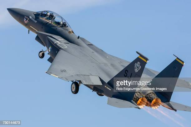 A U.S. Air Force F-15E Strike Eagle takes off from Nellis Air Force Base, Nevada.
