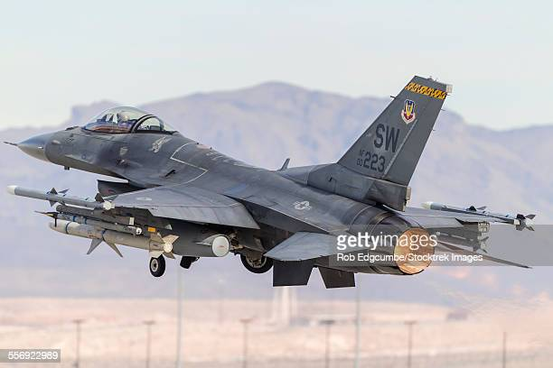 A U.S. Air Force F-16C Fighting Falcon turns after taking off from Nellis Air Force Base, Nevada.
