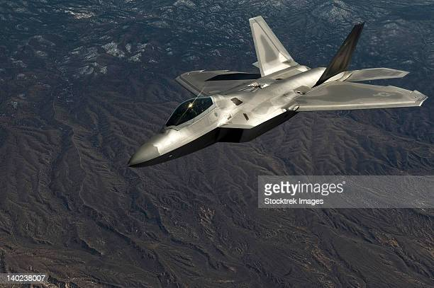 A U.S. Air Force F-22 Raptor in flight.