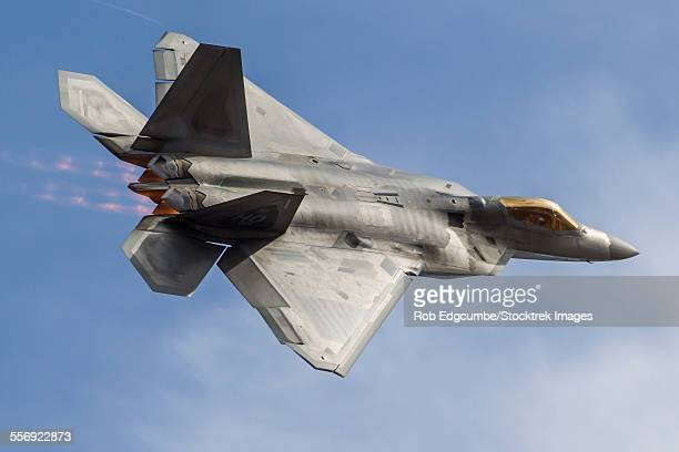 A U.S. Air Force F-22 Raptor makes a fast flyby at Stead Field, Reno, Nevada.