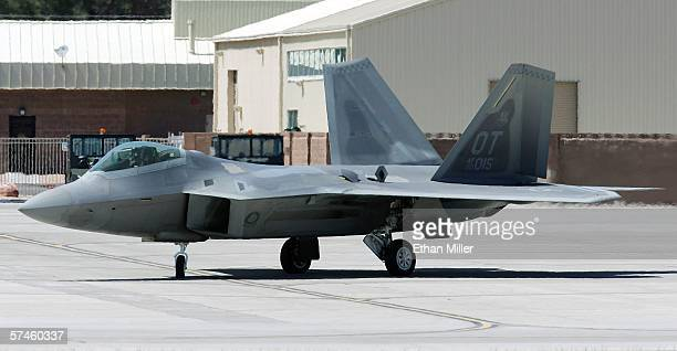 Air Force F22 Raptor taxis at Nellis Air Force Base while participating in the Joint Expeditionary Force Experiment 2006 April 25 2006 in Las Vegas...