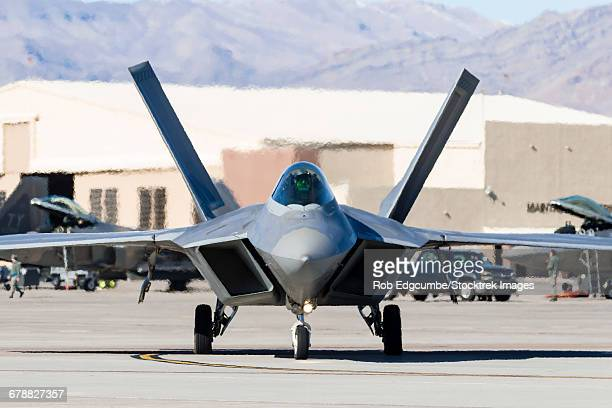 A U.S. Air Force F-22A Raptor taxiing at Nellis Air Force Base, Nevada.