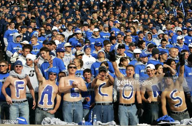 Air Force Falcon fans cheer on their team as part of Section 8 against the Notre Dame Fighting Irish on November 11 2006 at Falcon Stadium on the Air...