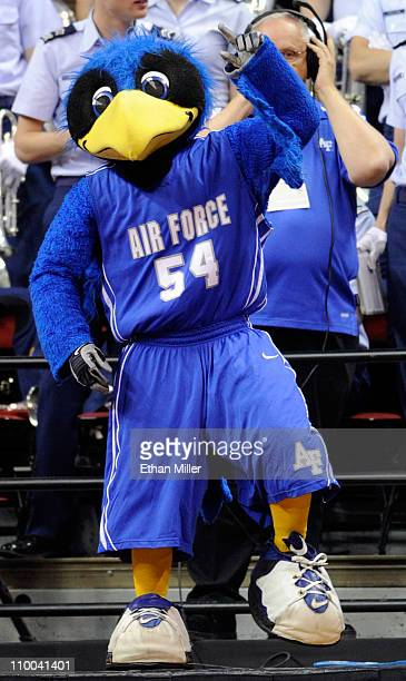 Air Force Falcons mascot The Bird appears during a quarterfinal game of the Conoco Mountain West Conference Basketball tournament against the UNLV...