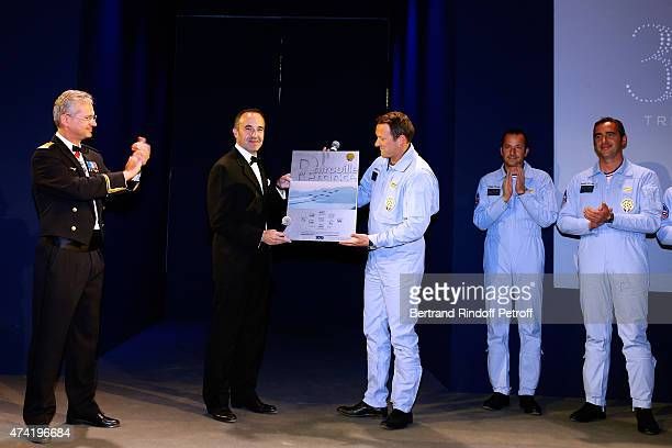 Air Force General Denis Mercier Martell CEO and Chairman Philippe Guettat and Pilots of the 'Patrouille de France' attend the Martell cocktail at the...