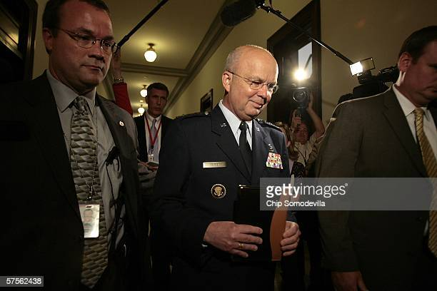 S Air Force General Michael Hayden leaves Senate Intelligence Committee Ranking Democrat Carl Levin's office on Capitol Hill May 9 2006 in Washington...