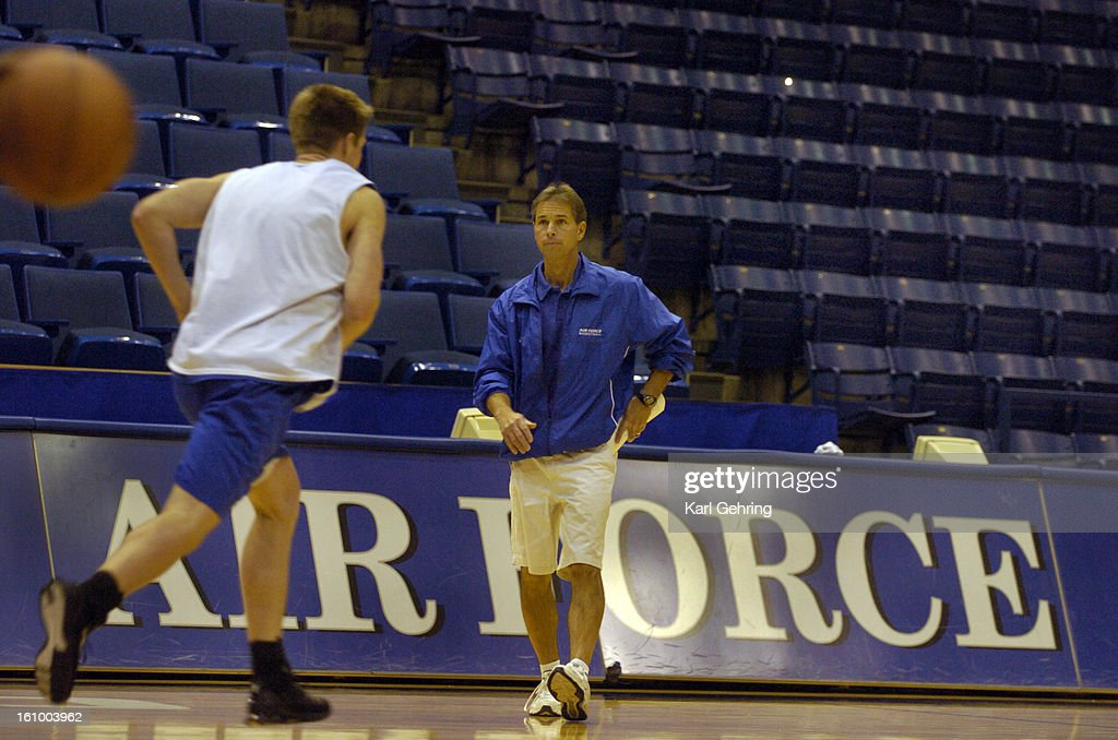 AIR FORCE ACADEMY, CO 11-09-05 -- Air Force Head Basketball coach Jeff Bzdelik led the team through practice and a team scrimmage Wednesday afternoon. Bzdelik coached the Denver Nuggets at the beginning of the season last year. (DENVER POST PHOTO BY KARL  : News Photo