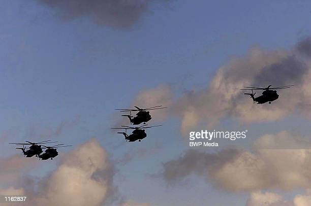S Air Force helicopters arrive at a British RAF base September 13 2001 in Mildenhall Suffolk United Kingdom after security was tightened at the air...