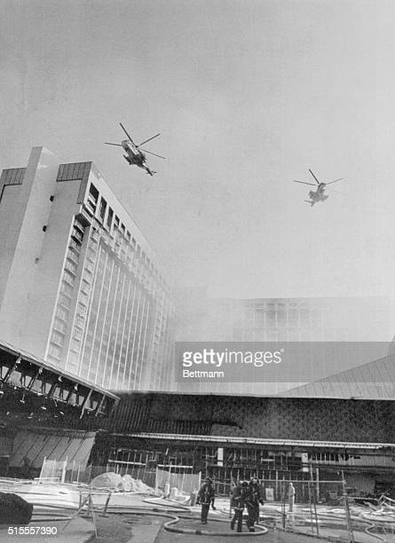 Air Force helicopters hover over the MGM Grand Hotel here, after a disastrous fire took at least 80 lives. Hundreds more guests were injured. The...