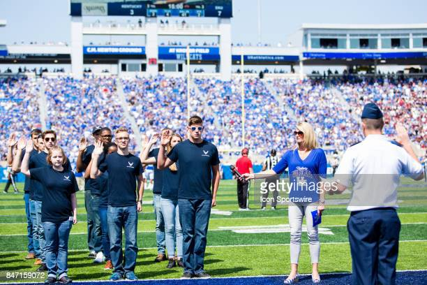 S Air Force inductees being sworn into duty during a regular season college football game between the Eastern Kentucky Colonels and the Kentucky...