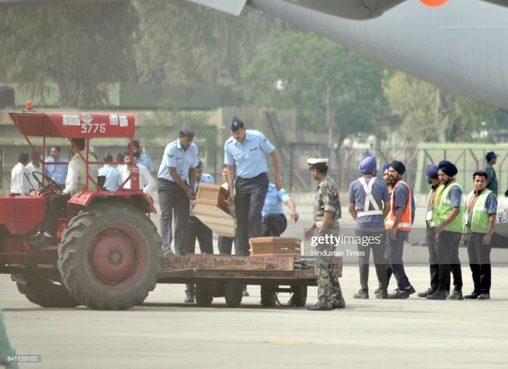 Air Force Janwas taking out Coffins of those who killed in Iraq from Special Air Force aircraft that throw which mortal remains brought back from...