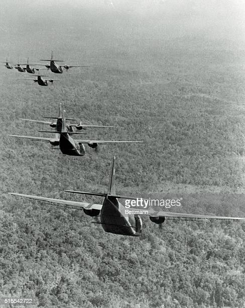 Air force jets fly over an area near Saigon along the Cambodian border spraying Agent Orange that defoliates trees without harming them during...