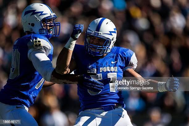 Air Force linebacker Jordan Pierce celebrates after a fourthquarter sack against Army at Falcon Stadium in Air Force Academy Colorado on Saturday...
