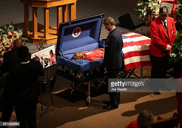 S Air Force Major General Michael Plehn pays his respects to retired Air Force Lt Col Eldridge Williams during his funeral at the Sweet Home...