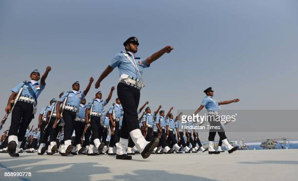 Air Force officers and soldiers show their skills on the 85th anniversary of Indian Air Force at Hindon Air Base on October 8 2017 in Ghaziabad India...