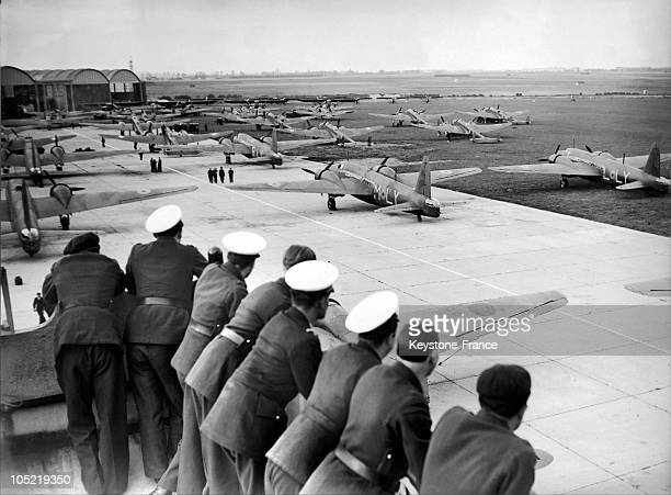 Air Force Officers Looking At The English Bombarbiers Wellington And Blenheim Lined Up On The Tarmac At The Airport Of Le Bourget On July 10 1939 52...