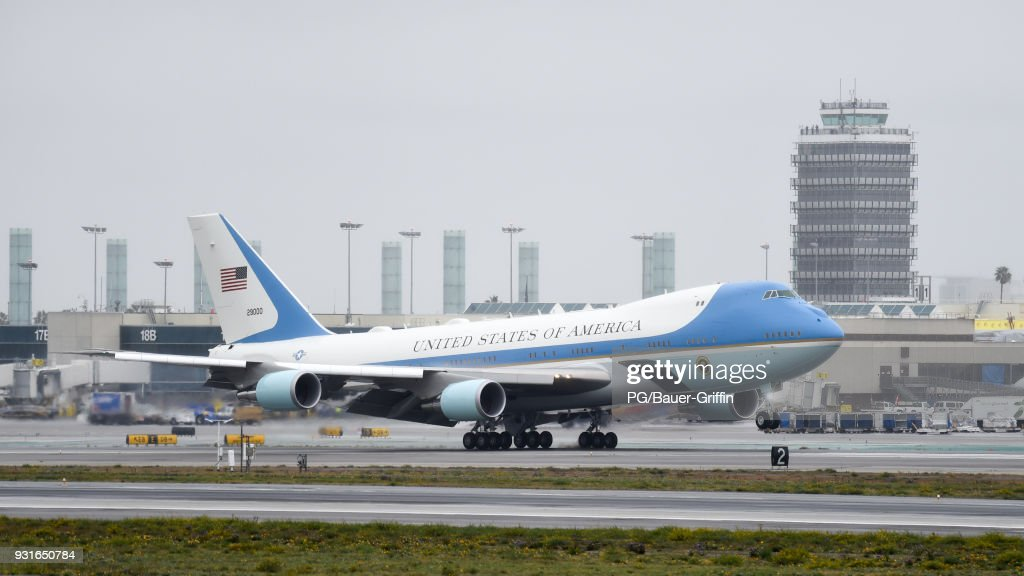 Air Force One arrives at Los Angeles International airport with President Trump on board on March 13, 2018 in Los Angeles, California.