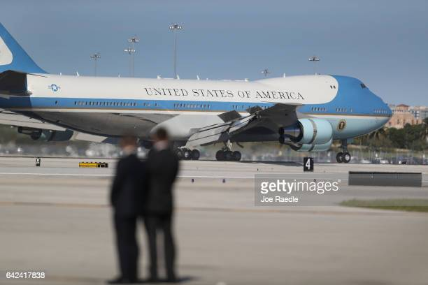 Air Force One arrives with President Donald Trump aboard at the Palm Beach International Airport to spend part of the weekend at MaraLago resort on...