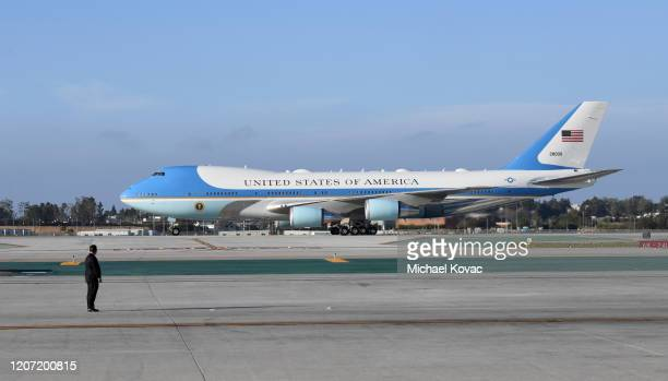 Air Force One arrives with US President Donald Trump aboard at LAX Airport on February 18 2020 in Los Angeles California