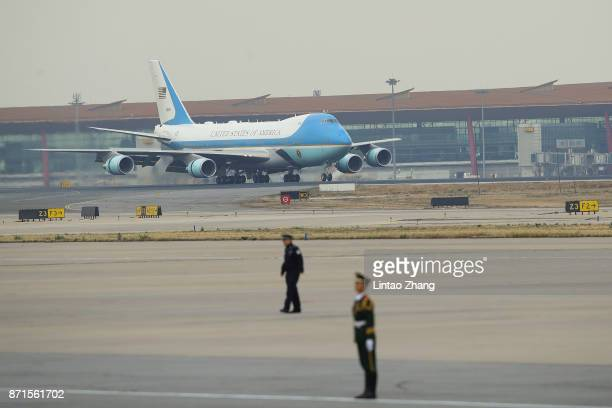 Air Force One carrying President Donald Trump and first Lady Melania Trump arrival at Beijing Capital Airport on November 8 2017 in Beijing China At...