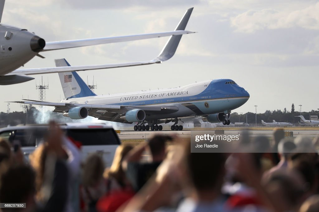 Air Force One carrying President Donald Trump arrives at the Palm Beach International Airport so the President can spend Easter weekend at Mar-a-Lago resort on April 13, 2017 in West Palm Beach, Florida. President Trump has made numerous trips to his Florida home and according to reports has cost over an estimated $20 million in his first 80 days in office.
