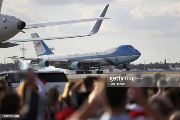 Air Force One carrying President Donald Trump arrives at the Palm Beach International Airport so the President can spend Easter weekend at MaraLago...