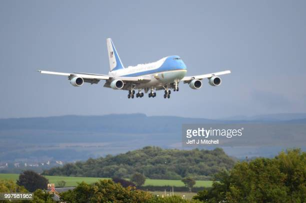 Air Force One carrying the President of the United States Donald Trump and First Lady Melania Trump touches down at Glasgow Prestwick Airport on July...