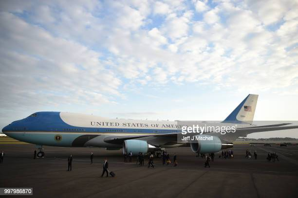 Air Force One carrying the President of the United States Donald Trump and First Lady Melania Trump arrives at Glasgow Prestwick Airport on July 13...
