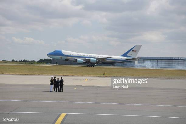 Air Force One carrying US President Donald Trump and First Lady Melania Trump's comes in to land at Stansted Airport on July 12 2018 in Essex England...