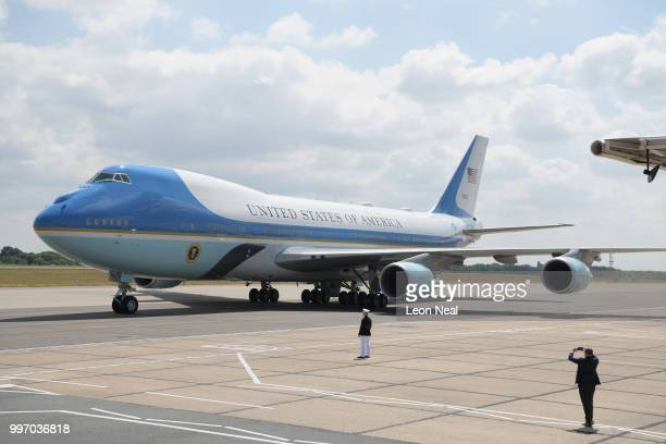 Air Force One carrying US President Donald Trump and First Lady Melania Trump's is seen after landing at Stansted Airport on July 12 2018 in Essex...