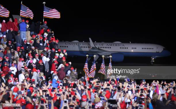 Air Force One carrying U.S. President Donald Trump arrives at a campaign rally at Richard B. Russell Airport on November 01, 2020 in Rome, Georgia....